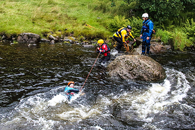 River-rescue training at National White Water Centre in Snowdonia