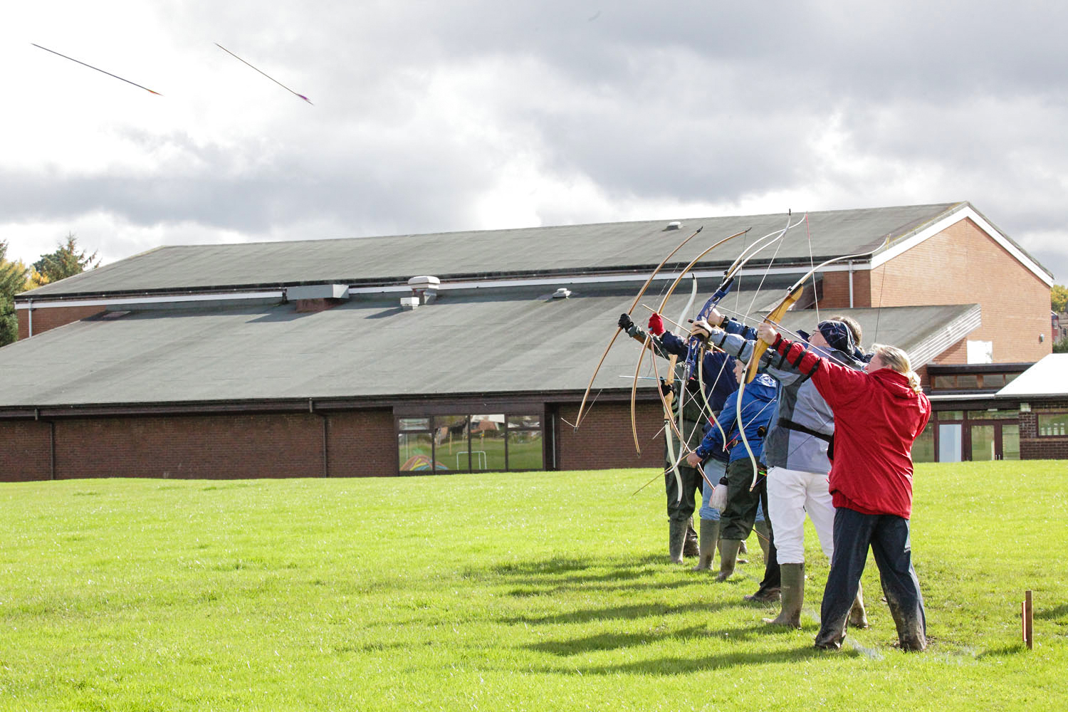 "Archery:  Long-range ""Clout"" competition organised by Powys Archery Association in Llandindod Wells."
